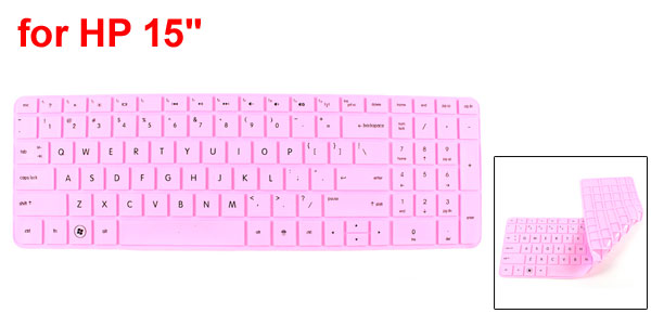 Soft Silicone PC Laptop Keyboard Film Skin Cover Protector Pink for HP 15
