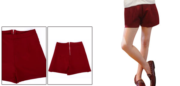 Women's Easy-wear High Waist Zip Back Figure Flattering Red Shorts XS
