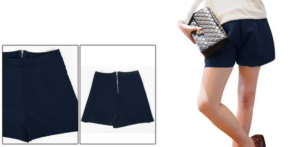 Women's Easy-wear Fashion High Waist Navy Blue Zip Back Shorts XS