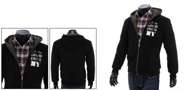 Men's Black Zip Up Reversible Wearing Soft Warm Casual Hooded Coat M