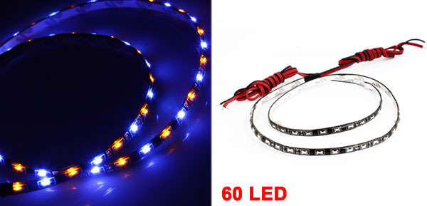 Yellow Blue SMD 60 LED Adhesive Auto Car Side View Strip Light 60cm Length