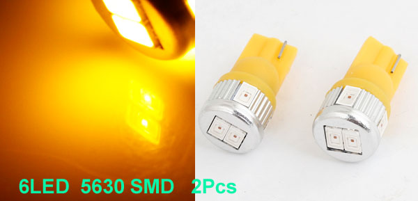 2 Pcs T10 W5W Wedge Yellow 5630 SMD 6 LED Dashboard Light Interior Lamp for Car