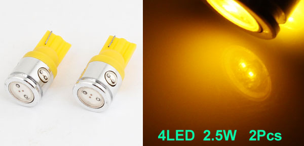 2 Pcs T10 W5W Wedge Yellow LED Bulb Dashboard Light Lamp 2.5w for Car