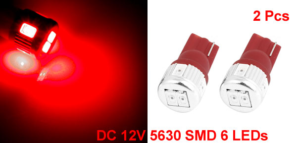 2 Pcs T10 W5W Wedge Red 5630 SMD 6 LED Dashboard Light Interior Lamp for Car