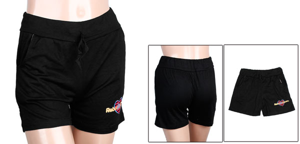 S Size Solid Black Elastic Waist Loose Casual Stylish Shorts for Lady