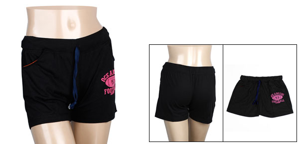 Size S Black Drawstring Waist Summer Beach Leisure Shorts for Ladies