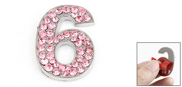 Rhinestones Decor Number Six Design Metal Decorative Sticker Pink for Car