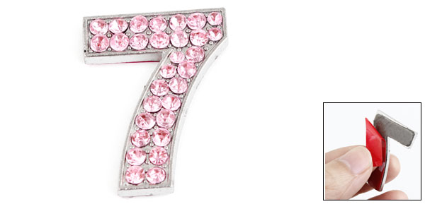 Car Bling Rhinestones Inlaid Arabic Number 7 Shaped Sticker Decor Pink