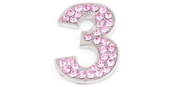 Pink Rhinestones Inlaid Arabic Number Three Shaped Car Sticker Decor