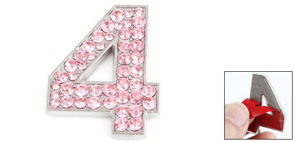 Vehicle Rhinestones Accent Pink Arabic Number Four Style Sticker Decor
