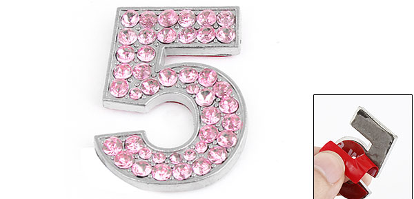 Vehicle Glittery Rhinestones Accent Pink Number Five Style Sticker Decor