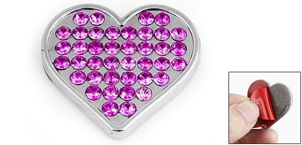 Magenta Heart Shape Rhinestones Decor Metal Decorative Sticker for Auto Car