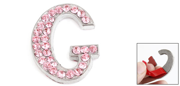 Car Vehicle Rhinestones Inlaid Pink Letter G Shape Sticker Decoration