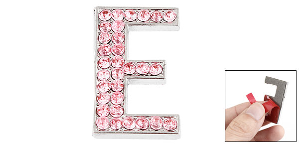 Letter E Shape Rhinestones Decor Metal Decorative Adhesive Sticker Pink for Car