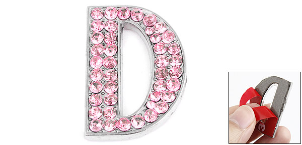 Letter D Shape Rhinestones Decor Metal Decorative Adhesive Sticker Pink for Car