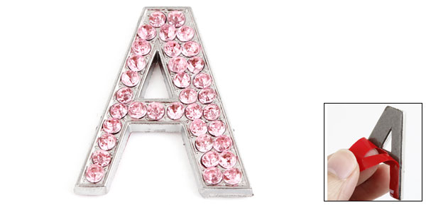 Pink Bling Rhinestones Inlaid Letter A Shaped Car Sticker Decoration