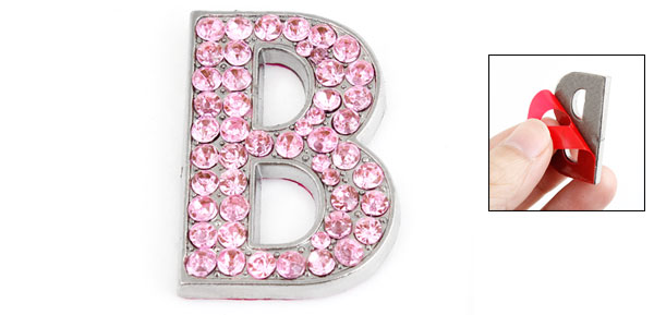 Pink Bling Rhinestones Inlaid Letter B Shaped Car Sticker Decoration