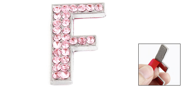 Car Vehicle Rhinestones Inlaid Pink Letter F Style Sticker Ornament