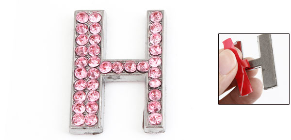 Pink Letter H Design Rhinestones Decor Metal Decorative Sticker Decor for Car