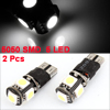 2 Pcs T10 2821 2825 5050 SMD 5 LED White Car Wedge Brake Light Bulbs