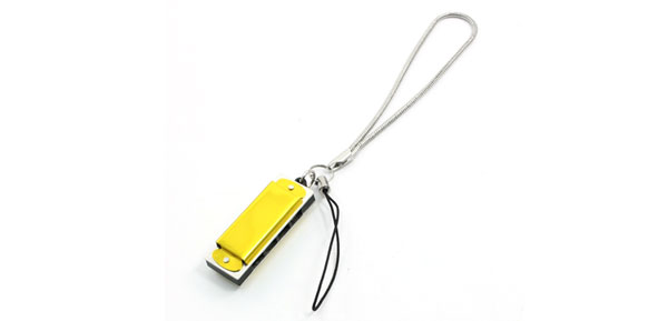 Yellow Mini Harmonica Harp Pendant Mobile Cell Phone Hanging Strap