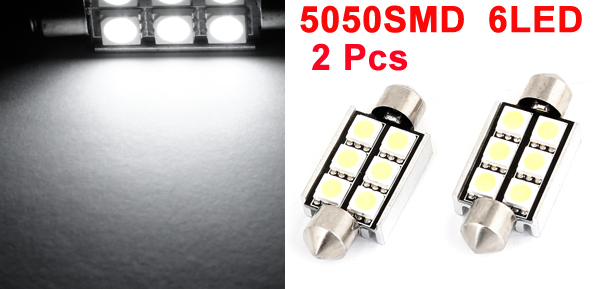 2 Pcs 39mm Canbus Error free 6 SMD 5050 LED White Festoon Dome Light Lamp 12V