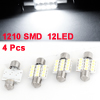 4 Pcs 31MM 12 White 1210 SMD LED No Error Festoon Dome Map Lamp for Truck