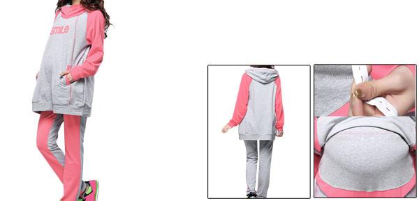 Maternity Hooded Pullover Hoodie & Elastic Waist Pants Pink Gray M