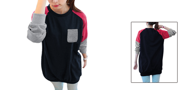 Mother Long-sleeved One Pocket Upper Autumn Dark Blue Fuchsia Tee Top L