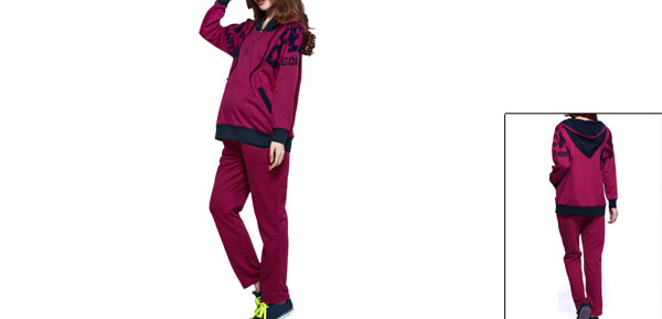 Motherhood Hooded Zip Up Hoodie & Adjustable Strap Pants Purple S