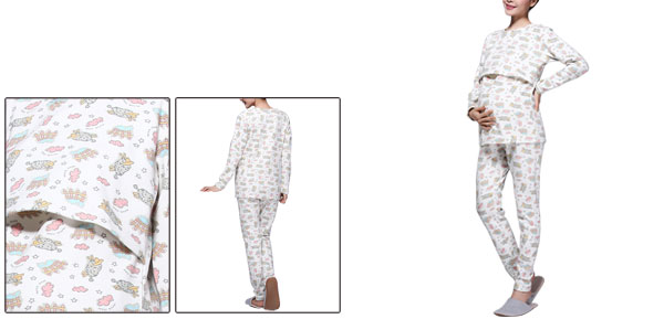 Motherhood Long Sleeve Adjustable Strap Cartoon Pajama Sleepwear Set Multiclor S