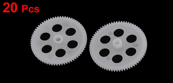 20 Pcs White Plastic Electric Model Hollow Out Gears 21mm Dia