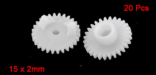 20 Pieces White Plastic 15 x 2mm 15mm Diameter Wheel Gears
