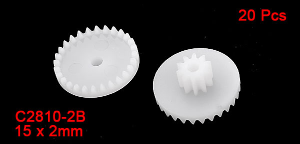 20 Pcs White Plastic Machanic DIY Models Crown Gears 15mm Dia