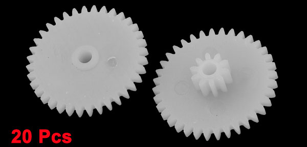 20 Pcs White Plastic 3610-2B Electric Models 19mm Dia Gear Wheels