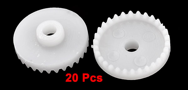 20 Pcs White Plastic Electric Machanical DIY Model Crown Gear Wheels