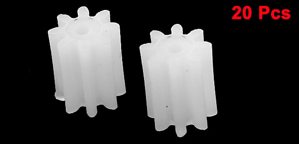 20 Pcs White Plastic 4mm Dia 5mm Height DIY Car Auto Model Gears