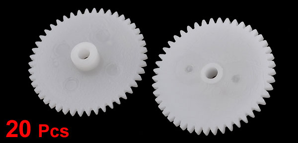 20 Pcs White Plastic 24 x 4mm Machanical Models Gears