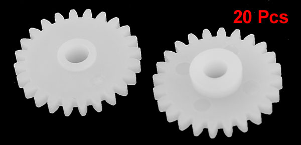 20 Pcs White Plastic Electric Model DIY Toy 13mm Dia Wheel Gear