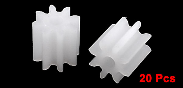 20 X White Plastic Electric DIY Toy Car Model Teeth Toothed Gear 5mm Dia