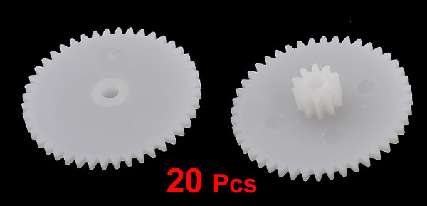 20 Pcs White Plastic Electrical Model Components Gear Wheels 23mm Dia