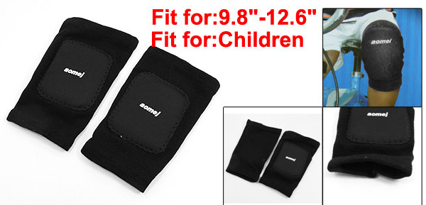 Children Sports Black Stretchy Knee Support Guard Brace Protector Pair