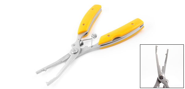 Yellow Plastic Coated Handgrip Metal Fishing Scissors Plier Tongs 6.5