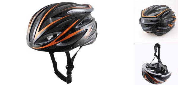 Adults Foam Pad Sports Bike Cycling Helmet Black Orange