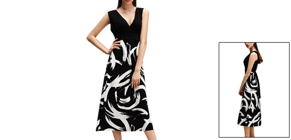 Woman irregular Pattern Drawstring Waist Full Length Dress Black White XS