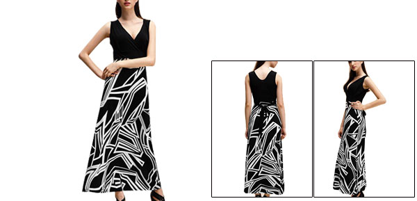 Women Deep V Neck Geometric Print Summer Beach Maxi Dress Black White XS