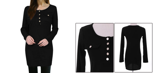 Lady Long-sleeved Button Closure Pullover Black Tee Shirt XS