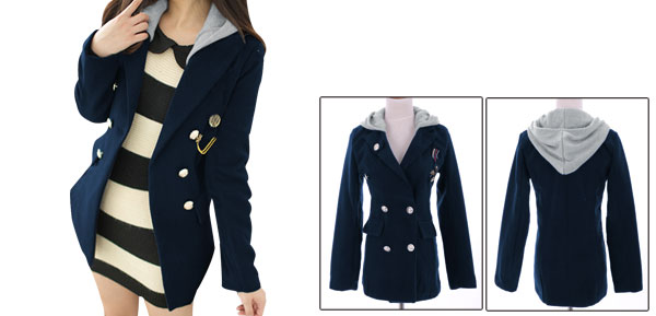Women Convertible Collar Double Breasted Hooded Worsted Coat Blue XS