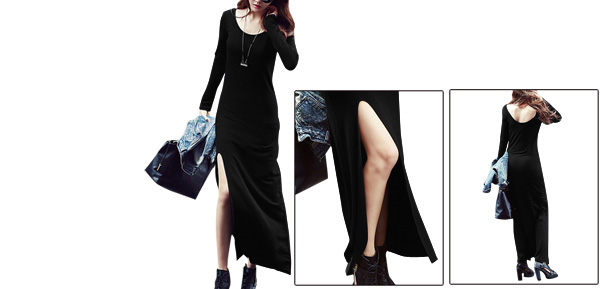 Lady Elastic Long Sleeve Round Neck Buttonless Black Dress XS