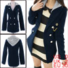 Women Hooded Button Up Long Sleeve Fake Pockets Worsted Coat Navy Blue XS